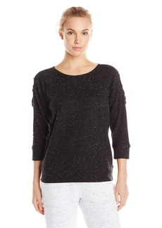 Steve Madden Women's Confetti French Terry Criss Cross Cold Shoulder Pullover With Raw Edges