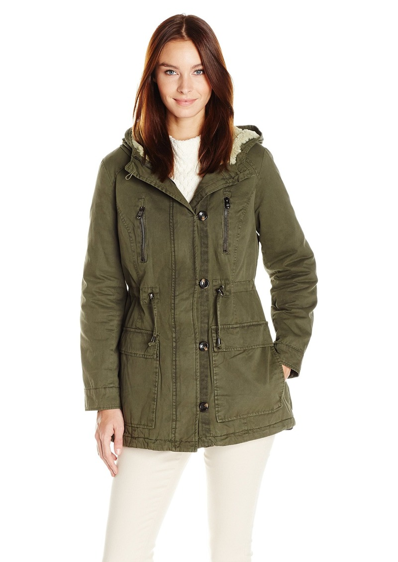 Steve Madden Women's Cotton Anorak with Sherpa Hood  M