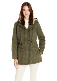 Steve Madden Women's Cotton Anorak Olive/Sherpa Hood Lining IAFEB L