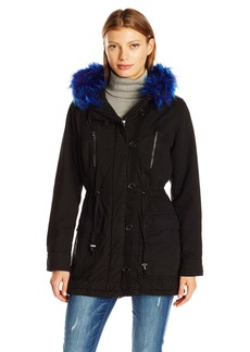 Steve Madden Women's Cotton Anorak with Faux Fur Trimmed Hood  L