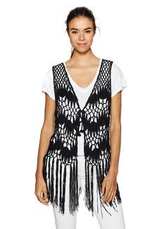 Steve Madden Women's Crochet Clover Vest black