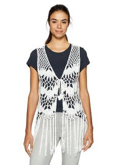 Steve Madden Women's Crochet Clover Vest white