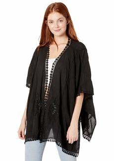 Steve Madden Women's Crochet Kimono w/Arm Tacks black