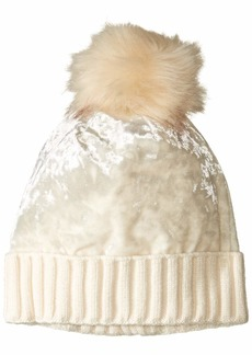 Steve Madden Women's Crushed Velvet Cuff Hat  ONE Size