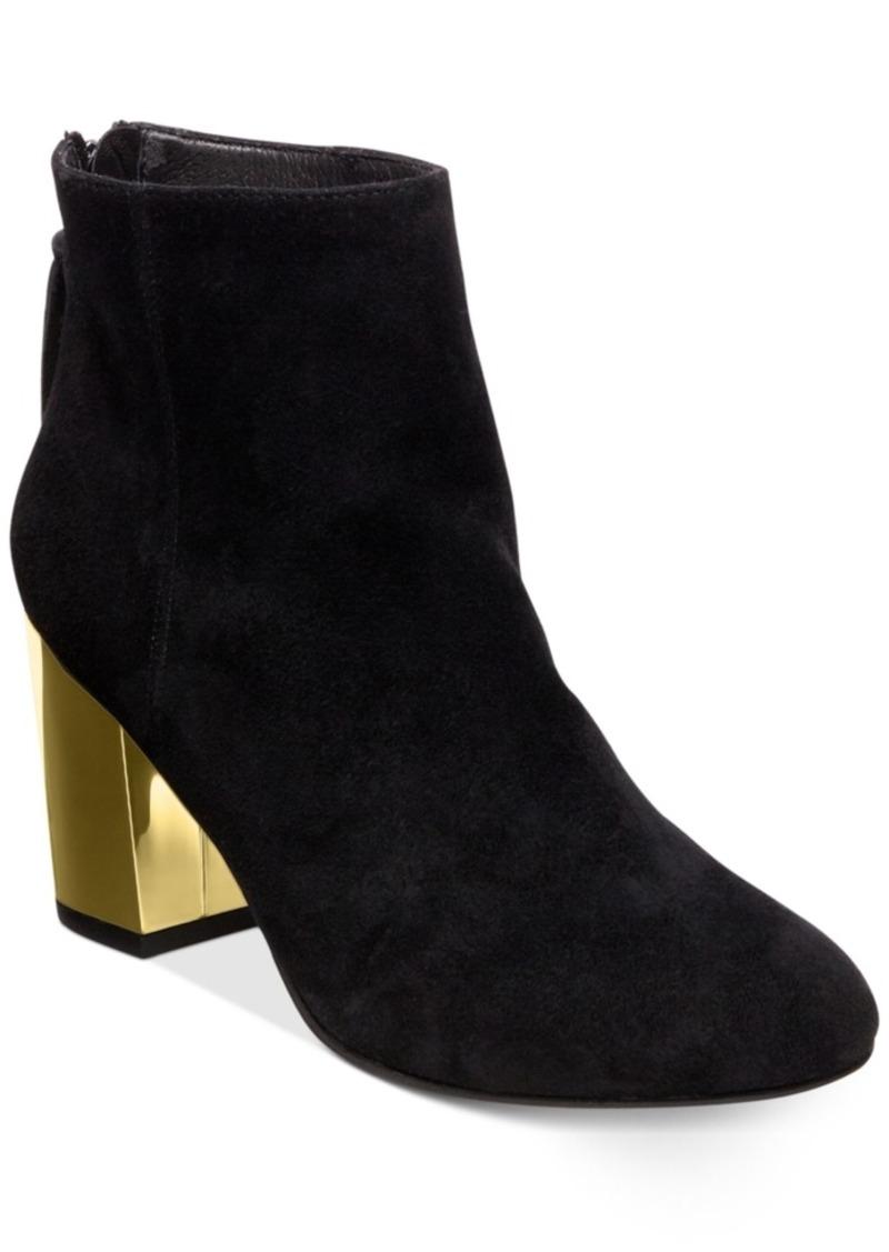 9475bc429c3 Steve Madden Women s Cynthia Zipper Gold Block-Heel Booties Women s Shoes