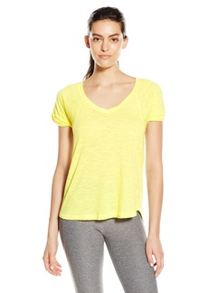 Steve Madden Women's Distressed Burnout V Neck Tee with Twisted Sleeves