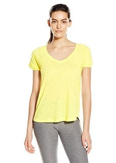 Steve Madden Women's Distressed Burnout V Neck Tee with Twisted Sleeves emonade arge
