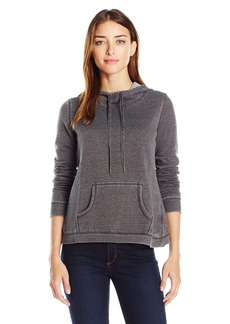 Steve Madden Women's Distressed Fleece Hoodie with Tulip Back
