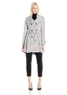 Steve Madden Women's Double Breasted Wool Trench Coat with Belt Silver