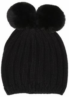 Steve Madden Women's Double Pom Knit Beanie