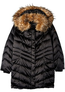 Steve Madden Women's Plus Size Filled Puffer Coat with Faux Fur Trimmed Hood
