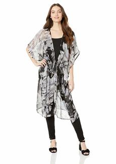 Steve Madden Women's Drawstring Waist Sweeper Kimono black/grey