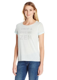 """Steve Madden Women's """"Drop and Give Me Zen Relaxed Rolled Sleeve Graphic Tee  L"""