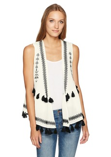 Steve Madden Women's Embroidered Cotton Peplum Vest black