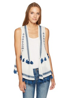 Steve Madden Women's Embroidered Cotton Peplum Vest navy