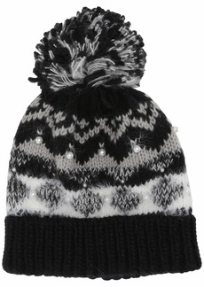 Steve Madden Women's Fair Isle with Pearls Cuff Hat