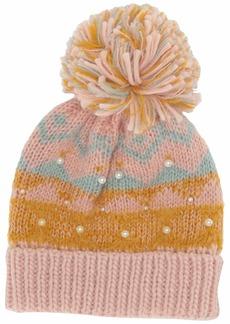 Steve Madden Women's Fair Isle with Pearls Cuff Hat