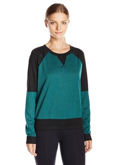 Steve Madden Women's French Terry Colorblock Crew Neck