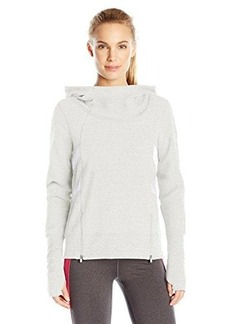 Steve Madden Women's Funnel Neck French Terry Hoodie Pullover with Mesh and Zipper Detail