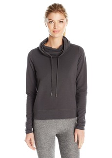 Steve Madden Women's Funnel Neck Pullover with Open Back and Vegan Leather Accents
