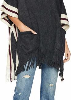 Steve Madden Women's Fuzzy Stripe Poncho charcoal ONE SIZE