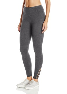 Steve Madden Women's High Waist Full Length Leggings with Criss Cross Lattice Detail  S
