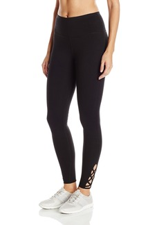 Steve Madden Women's High Waist Full Length Leggings with Criss Cross Lattice Detail  XL