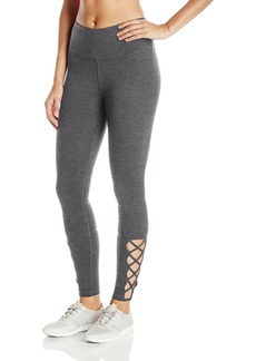 Steve Madden Women's High Waist Full Length Leggings with Strappy Lattice Detail  M