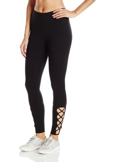 Steve Madden Women's High Waist Full Length Leggings With Strappy Lattice Detail  S