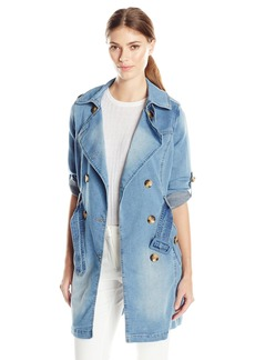 Steve Madden Women's Hooded Denim Trench Coat