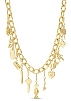 Steve Madden Women's Key and Heart Dangle Charm Necklace