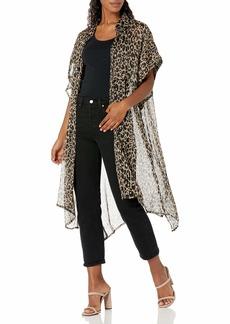 Steve Madden Women's Leopard Trench Kimono