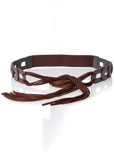 Steve Madden Women's Link Tab Tie Front Stretch Back Belt Brown (BRN) Small/Medium