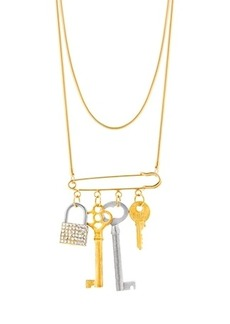 Steve Madden Women's Lock and Keys Safety Pin Chain Necklace