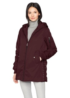 Steve Madden Women's Long Bomber Jacket Merlot With Lace Detail 705H M