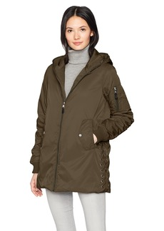 Steve Madden Women's Long Bomber Jacket Olive With Lace Detail 705H L