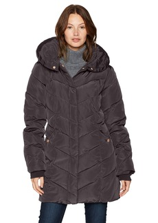 Steve Madden Women's Long Chervron Quilted Outerwear Jacket