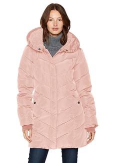 Steve Madden Women's Long Chervron Quilted Outerwear Jacket  L