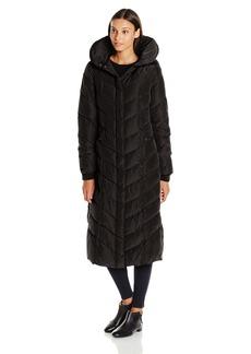 Steve Madden Women's Long Chevron Maxi Puffer Coat Black