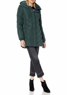 Steve Madden Women's Long Chevron Quilted Outerwear Jacket  L