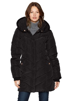 Steve Madden Women's Long Heavy Weight Puffer Jacket Black a