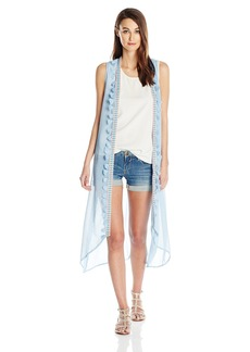 Steve Madden Women's Long Vest Coverup With Tassels