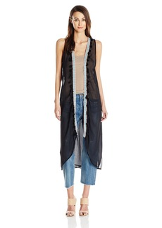 Steve Madden Women's Long Vest Coverup With Tassels black