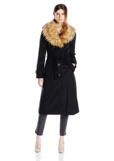 Steve Madden Women's Long Wool Coat with Belt and Removable Faux Fur Collar