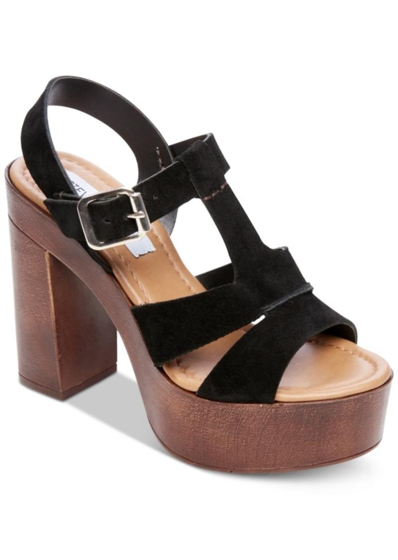 Steve Madden Women's Lucille Wooden-Heel Platform Sandals