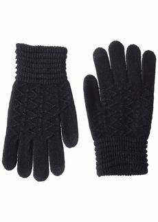 Steve Madden Women's Lurex Zig Zag i-Touch Gloves black