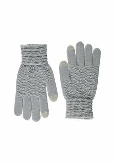 Steve Madden Women's Lurex Zig Zag i-Touch Gloves Grey