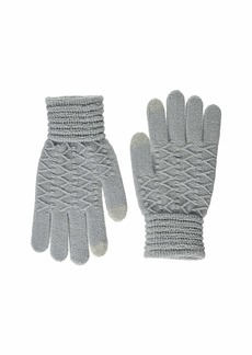 Steve Madden Women's Lurex Zig Zag i-Touch Gloves Grey