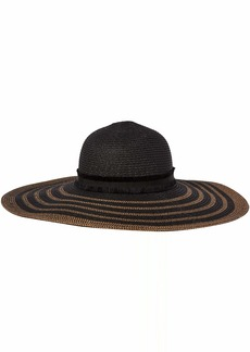 Steve Madden Women's Maled Braid Wide Brim Floppy Hat Black/tan
