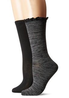 Steve Madden Women's Marled Ruffle Cuff Boot Sock 2 Pack
